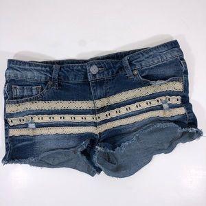 No Boundaries Lace Detail Distressed Denim Shorts
